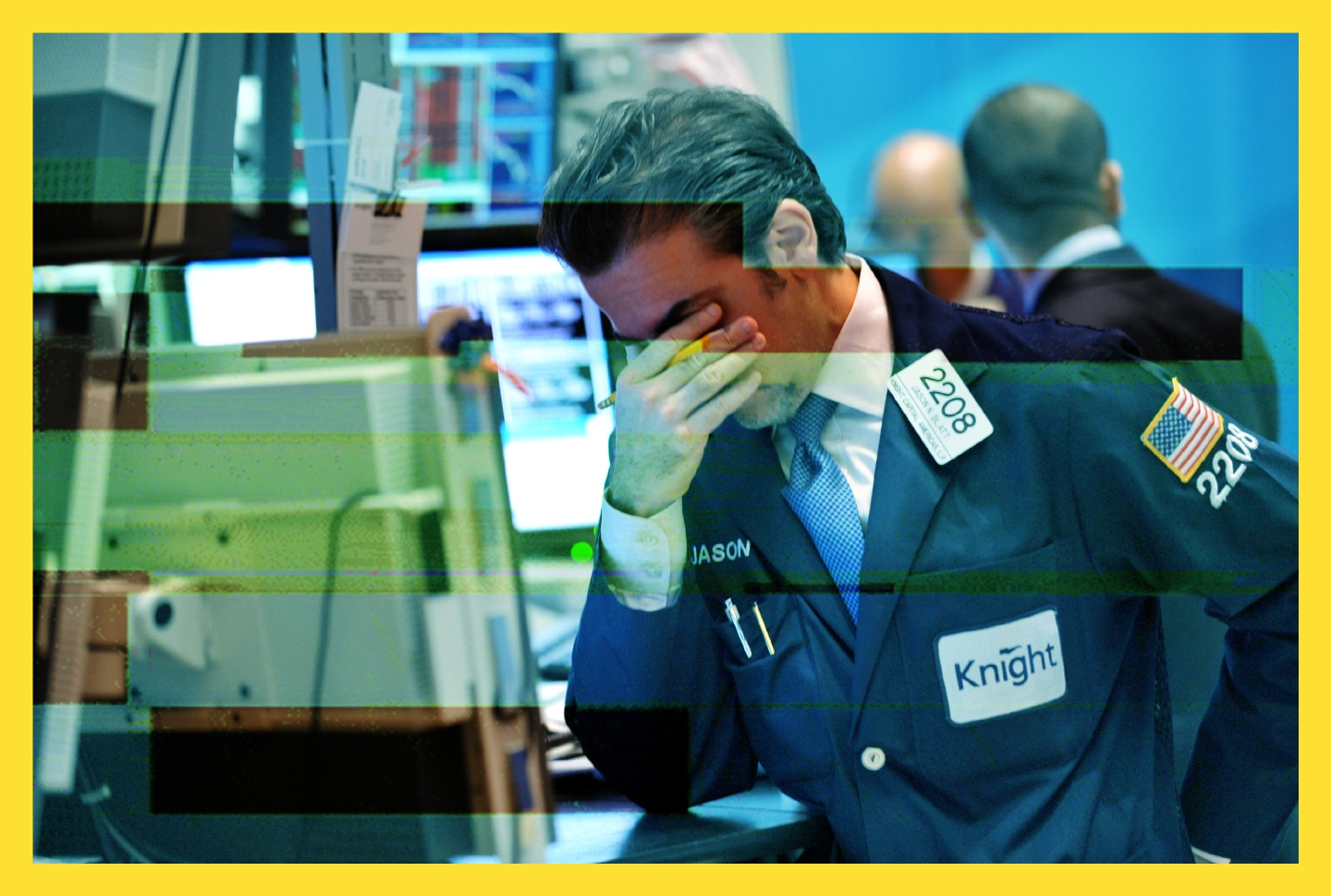 The penny stock chronicles jason blatt of knight capital americas reacts to down market on the floor of the new york stock exchange aug 8 2011 buycottarizona Images