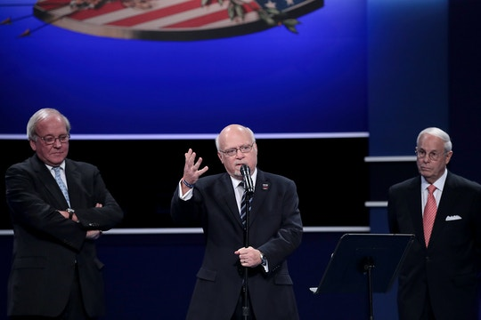 Hofstra University President Stuart Rabinowitz introduces debate co-chairs, from left, Michael D. McCurry and Frank Fahrenkopf ahead of the Presidential Debate at Hofstra University on September 26, 2016 in Hempstead, New York.