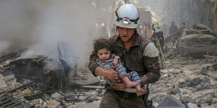 A member of the Syria Civil Defense's volunteer