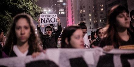 Ato Secundarista Contra Reforma do Ensino Médio em São Paulo.