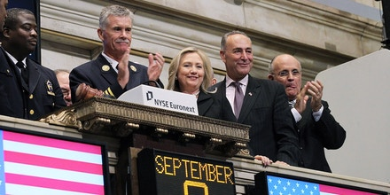 NEW YORK, NY - SEPTEMBER 09:  (R-L) Former New York City mayor Rudy Giuliani, U.S. Sen. Charles Schumer (D-NY) and U.S. Secretary of State Hillary Clinton look on during the ringing of the  opening bell at the New York Stock Exchange on September 9, 2011 in New York City.  U.S. Secretary of State Hillary Clinton along with other New York leaders rang the opening bell at the NYSE ahead of the tenth anniversary of the September 11 terror attacks. (Photo by Justin Sullivan/Getty Images)
