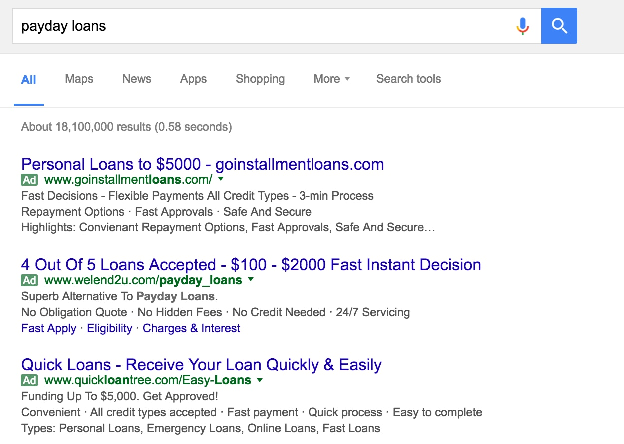 Google Said It Would Ban All Payday Loan Ads It Didn T