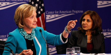 WASHINGTON, DC - SEPTEMBER 18:  Secretary Hillary Clinton (L) and CAP President Neera Tanden attend the
