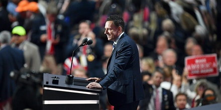 CLEVELAND, OH - JULY 21:  Peter Thiel, co-founder of PayPal,  delivers a speech during the evening session on the fourth day of the Republican National Convention on July 21, 2016 at the Quicken Loans Arena in Cleveland, Ohio. Republican presidential candidate Donald Trump received the number of votes needed to secure the party's nomination. An estimated 50,000 people are expected in Cleveland, including hundreds of protesters and members of the media. The four-day Republican National Convention kicked off on July 18.  (Photo by Jeff J Mitchell/Getty Images)