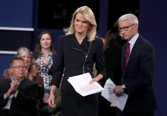 ST LOUIS, MO - OCTOBER 09:  CNN moderator Anderson Cooper (R) and ABC moderator Martha Raddatz (L) appear on stage during the second presidential debate with democratic presidential nominee former Secretary of State Hillary Clinton and republican presidential nominee Donald Trump at Washington University on October 9, 2016 in St Louis, Missouri. This is the second of three presidential debates scheduled prior to the November 8th election.  (Photo by Justin Sullivan/Getty Images)