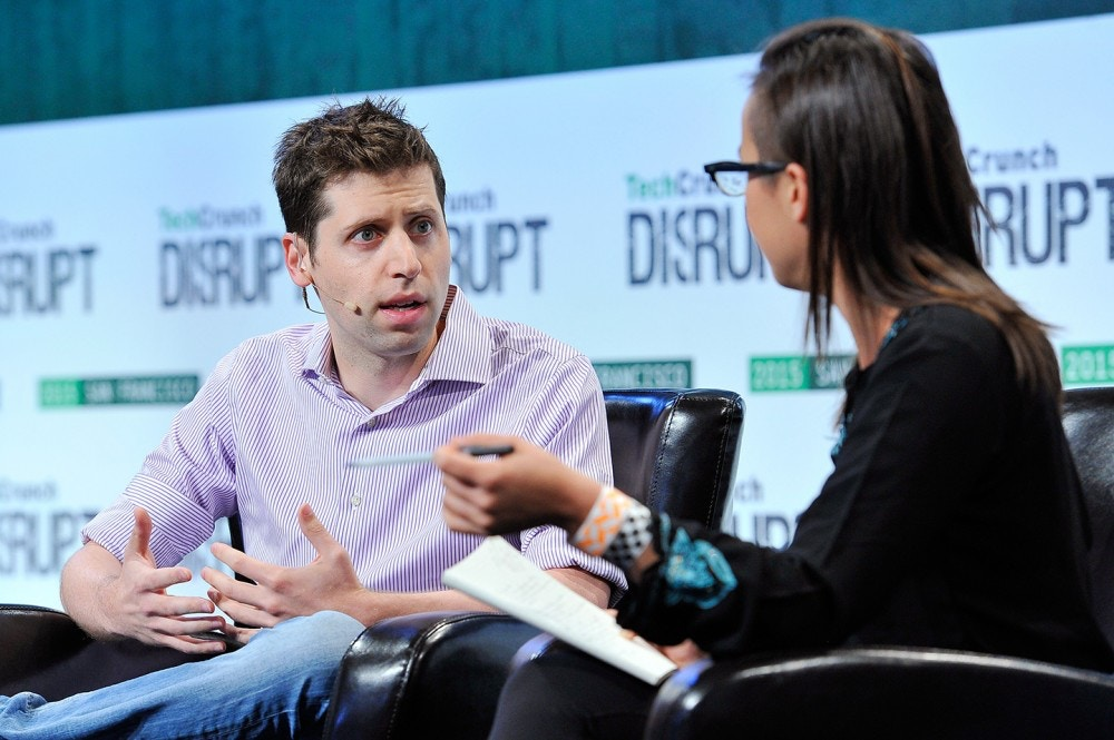 SAN FRANCISCO, CA - SEPTEMBER 23:  (R-L) Moderator Kim-Mai Cutler speaks with Sam Altman of Y Combinator onstage during TechCrunch Disrupt SF 2015 at Pier 70 on September 23, 2015 in San Francisco, California.  (Photo by Steve Jennings/Getty Images for TechCrunch)