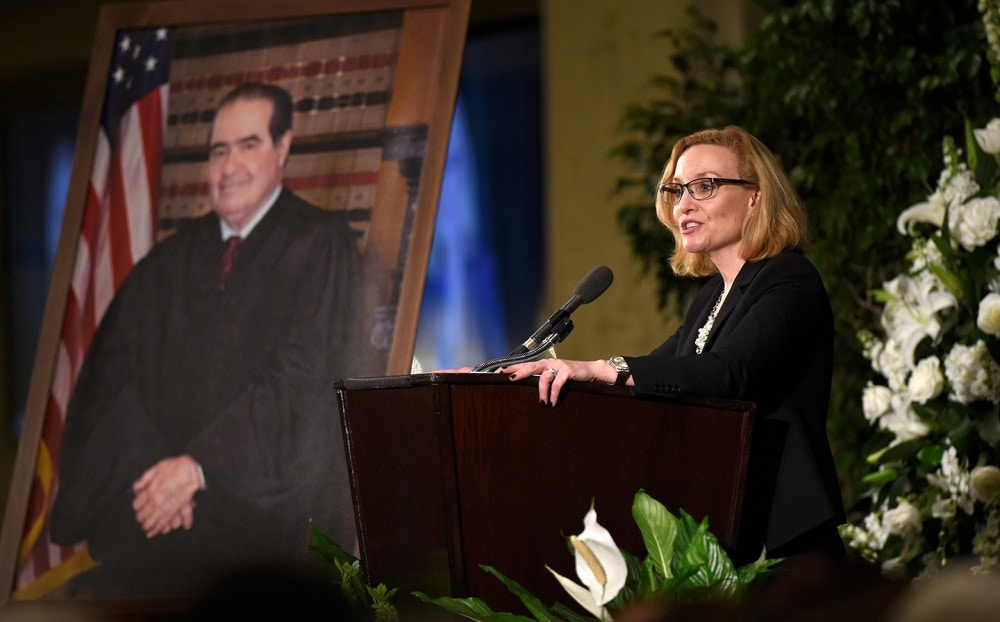 WASHINGTON, DC - MARCH 1: Justice Joan Larsen of the Michigan Supreme Court and a former clerk for Supreme Court Justice Antonin Scalia speaks at his memorial service at the Mayflower Hotel March 1, 2016 in Washington, DC. Justice Scalia died February 13 while on a hunting trip in Texas. (Photo by Susan Walsh-Pool/Getty Images)