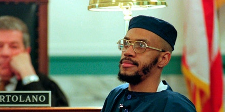 "FILE - In this Wednesday, Feb. 14, 199,  file photo, Siddique Abdullah Hasan, formerly known as Carlos Sanders, testifies before Judge Fred J. Cartolano in Cincinnati, during his trial on aggravated murder, kidnapping, and assault charges. Allowing prison inmates convicted for their role in Ohio's deadly 1993 prison riot to conduct face-to-face media interviews could give them too much ""notoriety and influence"" among fellow prisoners and cause problems throughout the prison system, the state argues in a court filing. The Ohio chapter of the American Civil Liberties Union sued the state in December, arguing the prison system's policy is inconsistent, especially when the backgrounds of other high-security inmates granted access to reporters is reviewed. The lawsuit was also brought on behalf of death row inmates Siddique Abdullah Hasan, George Skatzes, Keith Lamar and Jason Robb, and inmate Gregory Curry, who is serving a life sentence for the Lucasville riots. (AP Photo/Al Behrman, File)"