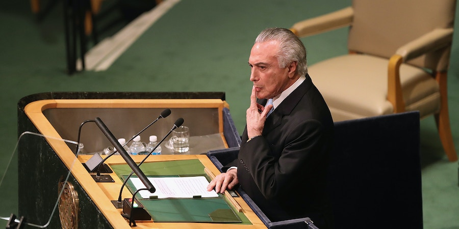 NEW YORK, NY - SEPTEMBER 20:  Brazilian President Michel Temer addresses the United Nations General Assembly on September 20, 2016 in New York City. Heads of state gathered to address global issues at the 71st annual meeting at the UN headquarters in New York.  (Photo by John Moore/Getty Images)