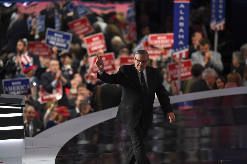 CLEVELAND, OH - JULY 21:<br /><br /><br /><br /><br /><br /> Sheriff Joe Arpaio exits the stage after delivering a speech at the Republican National Convention on Thursday, July 21, 2016. (Photo by Toni L. Sandys/The Washington Post via Getty Images)