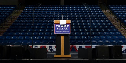 The stage is set before a rally for Republican presidential nominee Donald Trump, October 10, 2016, in Wilkes Barre, Pennsylavania. / AFP / DOMINICK REUTER (Photo credit should read DOMINICK REUTER/AFP/Getty Images)