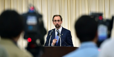 UN High Commissioner for Human Rights Zeid Ra'ad Al Hussein (C) speaks during a press conference in Seoul on June 25, 2015 before ending a three-day trip to South Korea. The top UN rights official called for a