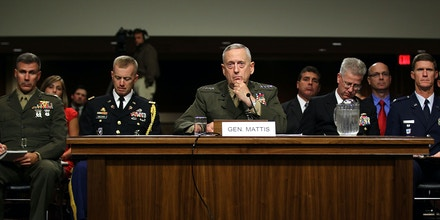 Marine Corps Gen. James Mattis (C) speaks during his confirmation hearing July 27, 2010 on Capitol Hill in Washington, DC.