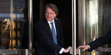 Don McGahn, lawyer for Donald Trump and his campaign, leaves the Four Seasons Hotel after a meeting with Trump and Republican donors, June 9, 2016 in New York City.