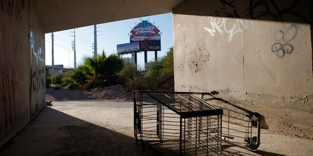 A shopping cart lies in storm tunnels near the Strip in Las Vegas.