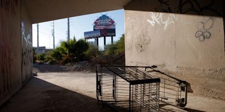 A shopping cart lies in storm tunnels near the Strip in Las Vegas.