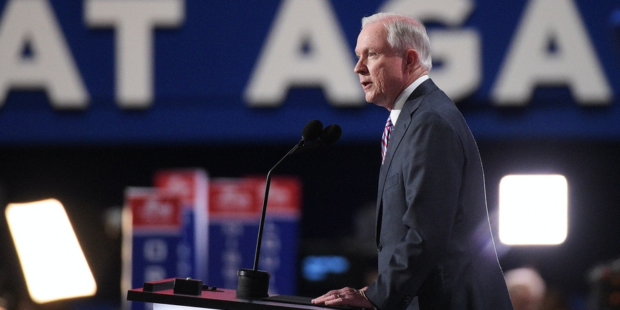CLEVELAND, OH - JULY 18:  Sen. Jeff Sessions (R-AL) delivers a speech on the first day of the Republican National Convention on July 18, 2016 at the Quicken Loans Arena in Cleveland, Ohio. An estimated 50,000 people are expected in Cleveland, including hundreds of protesters and members of the media. The four-day Republican National Convention kicks off on July 18.  (Photo by Jeff Swensen/Getty Images)