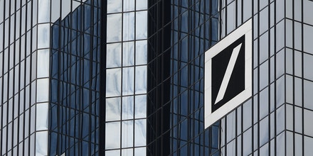 FRANKFURT, GERMANY - JUNE 19:  A huge logo of Deutsche Bank AG is pictured at their headquarters on June 19, 2008 in Frankfurt, Germany. Today the shares of Deutsche Bank fell by 1,5 percent to 60.60 euros, the lowest price since November 2004.   (Photo by Ralph Orlowski/Getty Images)