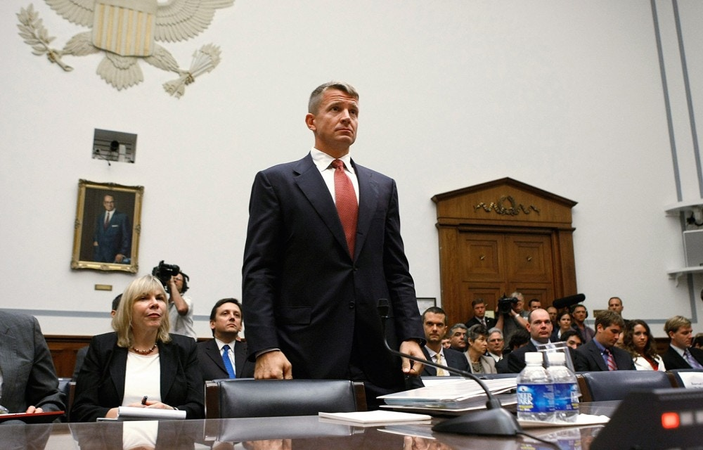 WASHINGTON - OCTOBER 02:  Erik Prince, chairman of the Prince Group, LLC and Blackwater USA, participates in a House Oversight and Government Reform Committee hearing on Capitol Hill October 2, 2007 in Washington, DC. The committee is hearing testimony from officials regarding private security contracting in Iraq and Afghanistan.  (Photo by Mark Wilson/Getty Images)