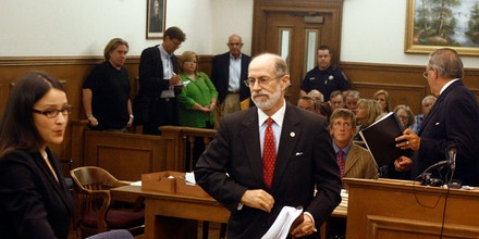 This photo taken Sept. 27, 2010, shows Center for Security Policy president Frank J. Gaffney Jr. making his way to the witness stand to testify about the threat of Shariah law during a motion hearing in Murfreesboro, Tenn. Islam is on trial in Murfreesboro where six days of testimony have tried to link a new mosque to what opponents claim is a seditious conspiracy to take over America. (AP Photo/Daily News Journal, Aaron Thompson)