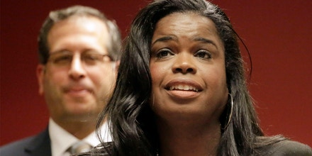 FILE - In this Dec. 2, 2015, file photo, Kim Foxx, a candidate for Cook County state's attorney, speaks at a news conference in Chicago. On Thursday, Jan. 14, 2016, the Cook County Democratic Party endorsed Foxx in the March primary over Cook County State's Attorney Anita Alvarez, who has been facing heavy criticism over her office's handling of alleged police misconduct cases.