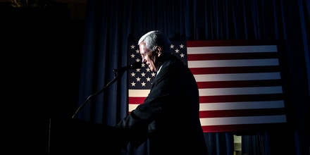 US Republican vice presidential candidate Mike Pence addresses a rally in the Crystal Ballroom at the Hilton Milwaukee City Center in Milwaukee, Wisconsin on August 11, 2016. / AFP / Cengiz Yar        (Photo credit should read CENGIZ YAR/AFP/Getty Images)
