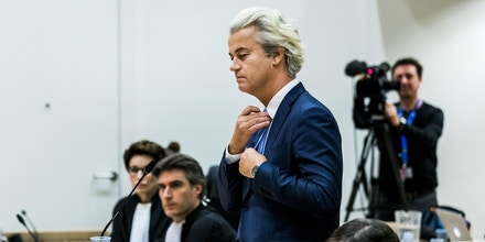 Dutch member of Parliament Geert Wilders (C), of the far-right Freedom Party (PVV), speaks in the courthouse of Schiphol, the Netherlands, on November 23, 2016, during the last day of his hate speech trial.Wilders remained unapologetic as his hate speech trial drew to a close on November 23, saying