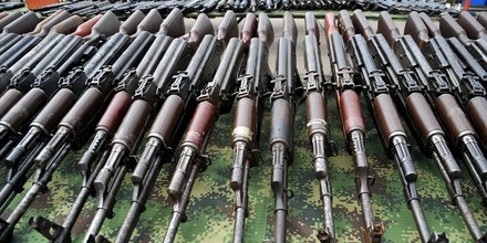 Part of the 9,517 weapons seized from the FARC and ELN guerrillas criminal gangs and organized crime are seen before being melted in furnaces of the National Steel Factory (Sidenal), on November 25, 2014 in Sogamoso, Boyaca department, Colombia.