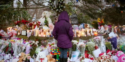 A tribute to the victims of the elementary school shooting in Newtown, Connecticut, on December 15, 2012.