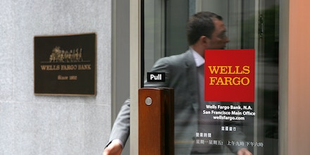A Wells Fargo customer enters a bank branch May 4, 2009 in San Francisco, California.