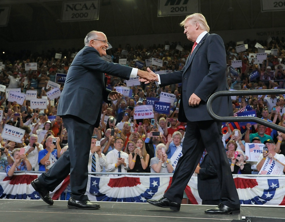 WILMINGTON, NC - AUGUST 9:  Former New York City Mayor Rudy Giuliani introduces Republican presidential candidate Donald Trump during a campaign event at Trask Coliseum on August 9, 2016 in Wilmington, North Carolina. This was Trump's first visit to southeastern North Carolina since he entered the presidential race.  (Photo by Sara D. Davis/Getty Images)