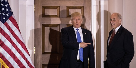 BEDMINSTER TOWNSHIP, NJ - NOVEMBER 20: (L to R) President-elect Donald Trump points at U.S. Marine Corps General John Kelly before their meeting at Trump International Golf Club, November 20, 2016 in Bedminster Township, New Jersey. Trump and his transition team are in the process of filling cabinet and other high level positions for the new administration. (Photo by Drew Angerer/Getty Images)