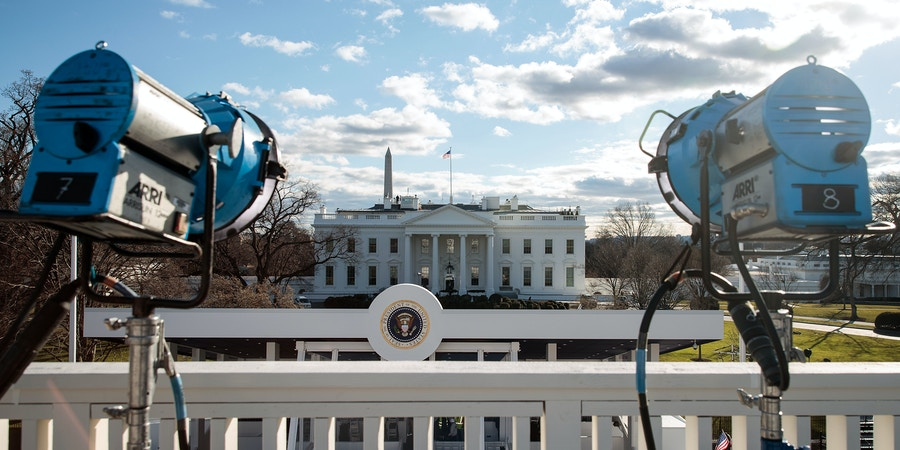 WASHINGTON, DC - JANUARY 18: Television lights are set up across the street from the Presidential Reviewing Stand in front of the White House, January 18, 2017 in Washington. DC. President-elect Donald Trump will be inaugurated as the 45th U.S. President on Friday. (Photo by Drew Angerer/Getty Images)