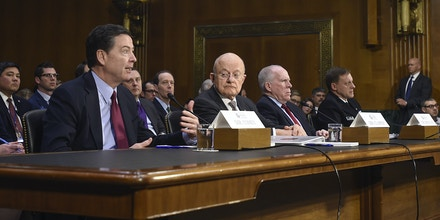 From left, FBI Director James Comey, Director of National Intelligence James Clapper, CIA Director John Brennan, and National Security Agency Director Adm. Michael Rogers, testify to Senate Intelligence Committee on Russia's intelligence activities, at Dirksen Senate Office Building in Washington on Jan. 10, 2017. Photo: Riccardo Savi/Sipa via AP