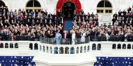 WASHINGTON, DC - JANUARY 20:  President Donald Trump waves on the West Front of the U.S. Capitol on January 20, 2017 in Washington, DC. In today's inauguration ceremony Donald J. Trump becomes the 45th president of the United States.  (Photo by Alex Wong/Getty Images)