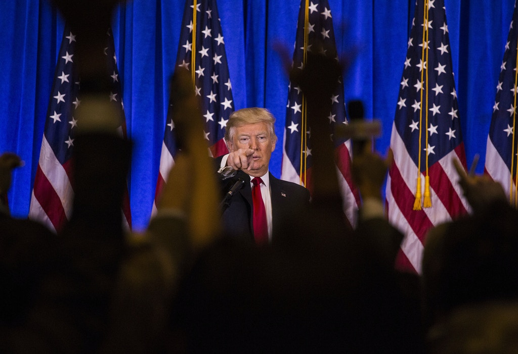 U.S. President-elect Donald Trump takes questions from members of the media during a press conference at Trump Tower in New York, U.S., on Wednesday, Jan. 11, 2017. Trump vigorously denounced unsubstantiated reports that the Russian government has gathered potentially damaging information about his finances and conduct. Photographer: John Taggart/Bloomberg via Getty Images