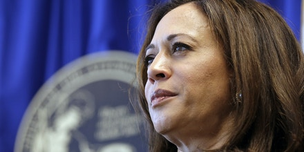 FILE - In this June 28, 2016 file photo California Attorney General Kamala Harris listens to questions during a news conference in San Francisco. President Barack Obama and Vice President Joe Biden on Tuesday, July 19, endorsed Harris to be the state's next U.S. senator. (AP Photo/Eric Risberg, File)
