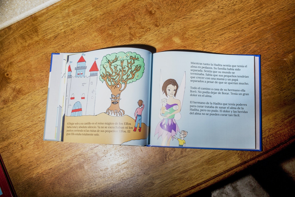 TIJUANA, MX. - APRIL 7 2016:  El Pequeño Elfo, is a childrens book that Sanchez-Paulsen wrote and illiustrated to explain the separation to her children. </p><br /><br /><br /><br /><br /><br /> <p>Natalie Keyssar