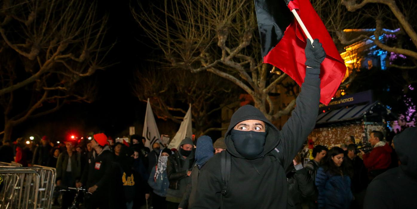 Masked Demonstrator Rise Revolution Sign Protest Car Tablet Vinyl Decal