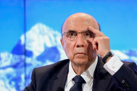 Brazilian Finance minister Henrique Meirelles takes part in a meeting on the day of the World Economic Forum, on January 18, 2017 in Davos.<br /><br /><br /><br /><br /><br /><br /><br /><br /><br /><br /><br /><br /><br /><br /><br /><br /><br /><br /><br /><br /><br /> With the world's elite holding its breath until Donald Trump becomes the next US president, outgoing Vice-President Joe Biden addresses the World Economic Forum in Davos / AFP / FABRICE COFFRINI        (Photo credit should read FABRICE COFFRINI/AFP/Getty Images)