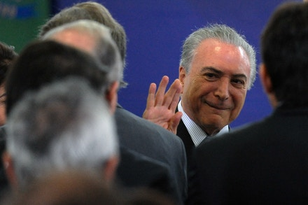 Brazilian President Michel Temer, attends the announcement of new funds for the school lunch program at the Planalto Palace, in Brasilia on February 8, 2017.  / AFP / ANDRESSA ANHOLETE        (Photo credit should read ANDRESSA ANHOLETE/AFP/Getty Images)