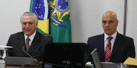 Brazil's interim President Michel Temer and Minister of Justice Alexandre de Moraes during  a meeting with representatives of the organization of the Rio 2016 Olympic Games, at Planalto Palace, in Brasilia, Brazil, on May 16, 2016. Photo: ANDRE DUSEK/ESTADAO CONTEUDO (Agencia Estado via AP Images)