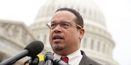 WASHINGTON, DC - FEBRUARY 01:  U.S. Rep. Keith Ellison (D-MN) speaks during a news conference in front of the Capitol February 1, 2017 on Capitol Hill in Washington, DC. Rep. Ellison hosted the press conference to discuss President Donald Trump's travel ban, which prevents immigrants and refugees from seven Muslim-majority countries from entering the U.S,  and objections to Senator Jeff Sessions' nomination to the position of Attorney General.  (Photo by Alex Wong/Getty Images)