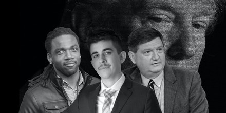 Top photo: Donte Stallworth (L), Chase Strangio (C), and James Risen (R).