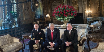 US President Donald Trump (C) announces US Army Lieutenant General H.R. McMaster (L) as his national security adviser and Keith Kellogg (R) as McMaster's chief of staff  at his Mar-a-Lago resort in Palm Beach, Florida, on February 20, 2017. / AFP / NICHOLAS KAMM        (Photo credit should read NICHOLAS KAMM/AFP/Getty Images)