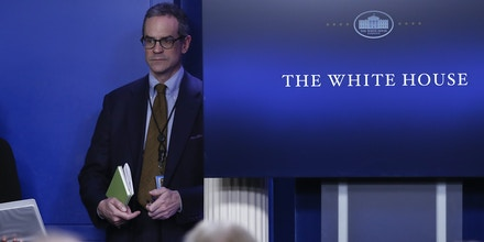 Michael Anton attends the daily news briefing at the White House, Feb. 1, 2017.