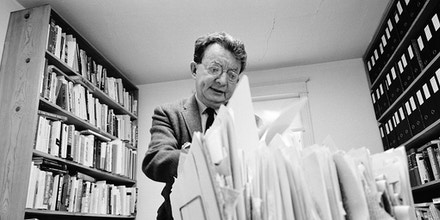 Portrait of Isidor Feinstein (1907 - 1989), journalist better known as Izzy Stone, who founded his own newsletter 'I.F. Weekly', in his office, Washington, D.C. 1966. (Photo by Rowland Scherman/Getty Images)
