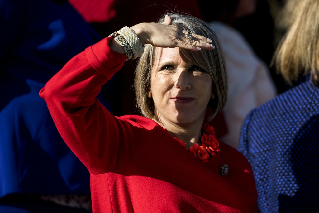 UNITED STATES - JANUARY 4: Rep. Michelle Lujan Grisham, D-N.M., along with the other House Democratic women wait on the House steps for House Minority Leader Nancy Pelosi, D-Calif., to arrived or their photo-op on the House steps on Wednesday, Jan. 4, 2017, to highlight the historic swearing-in of 65 House Democratic women to the 115th Congress. (Photo By Bill Clark/CQ Roll Call) (CQ Roll Call via AP Images)