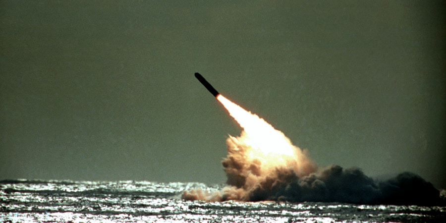 FILE - The Dec. 4, 1989 file photo shows U.S. Navy launching a Trident II, D-5 missile from the submerged submarine USS Tennessee in the Atlantic Ocean off the coast of Florida. Pushing his vision of a nuclear weapons-free world, President Barack Obama returned to Prague on Thursday, April 8, 2010 to sign a pivotal treaty aimed at sharply paring U.S. and Russian arsenals ? and repairing soured relations between the nations. With that, they will commit their nations to slash the number of strategic nuclear warheads by one-third and more than halve the number of missiles, submarines and bombers carrying them, pending ratification by their legislatures. The new treaty will shrink those warheads to 1,550 over seven years. That still allows for mutual destruction several times over. But it will send a strong signal that Russia and the U.S., which between them own more than 90 percent of the world's nuclear weapons, are serious about disarmament.  (AP Photo/Phil Sandlin, File)
