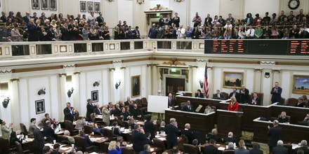 Legislators listen to Gov. Mary Fallin's State of the State address at the State Capitol in Oklahoma City, Monday, Feb. 6, 2017. (Jessie Wardarski/Tulsa World via AP)